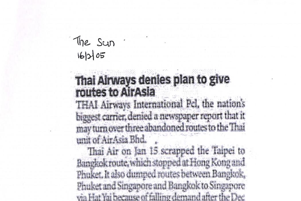 Thai Airways denies plan to give routes to airasia
