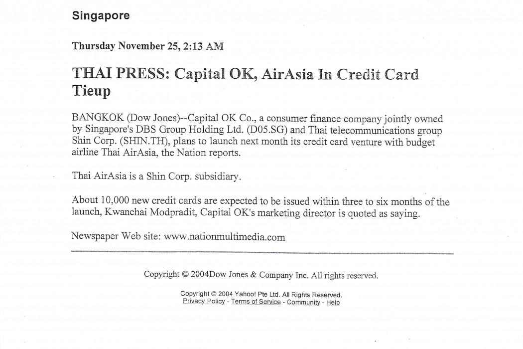 Thai Press Capital OK, airasia In Credit Card Tieup
