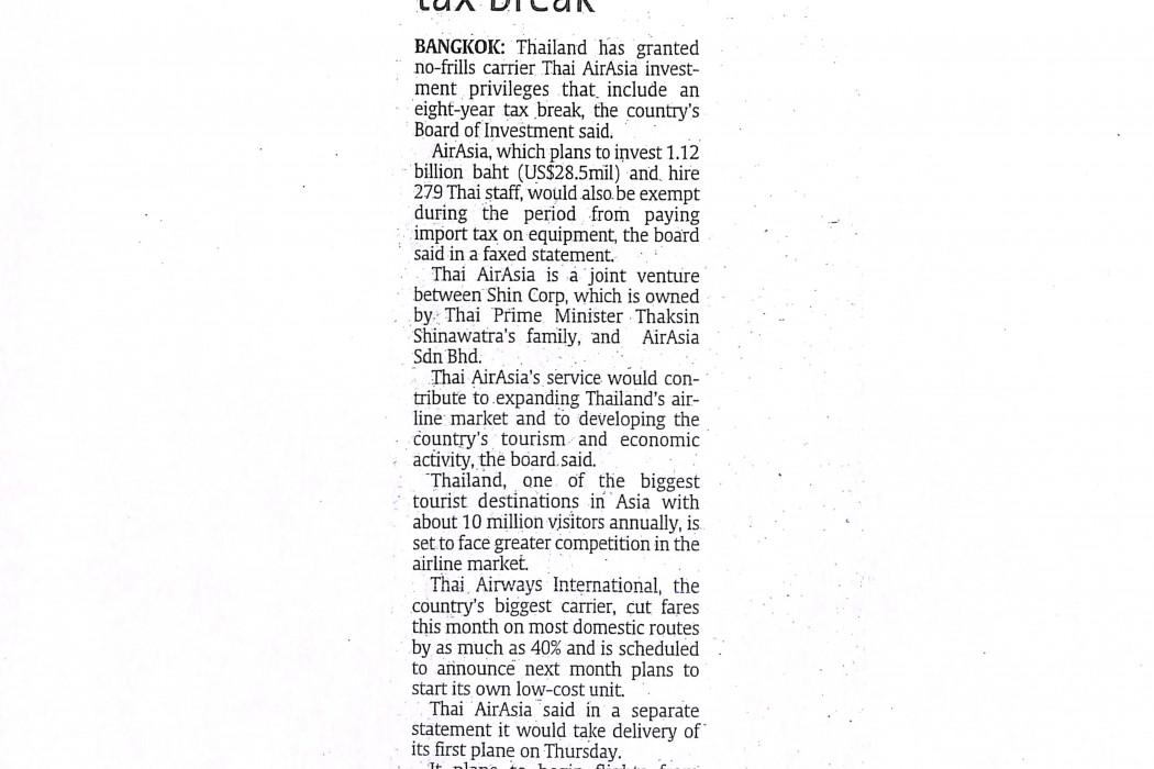 Thailand grants airasia unit eight-year tax break