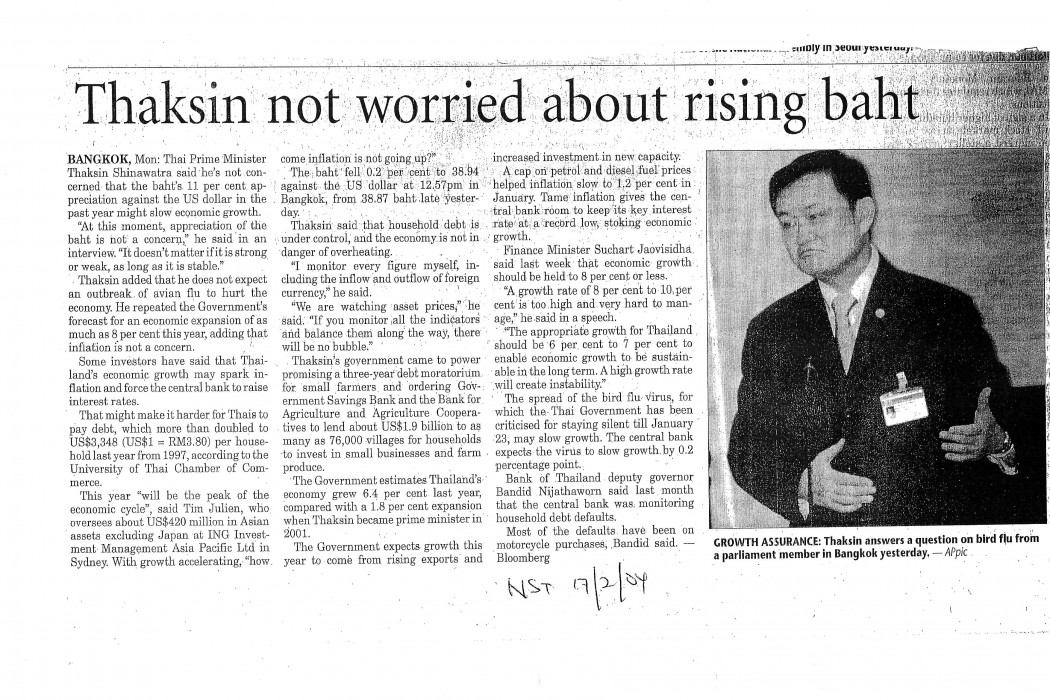 Thaksin not worried about rising baht