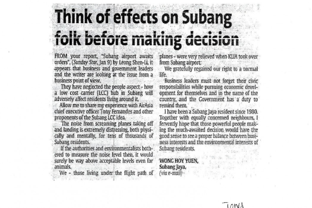 Think of effects on Subang folk before making decision