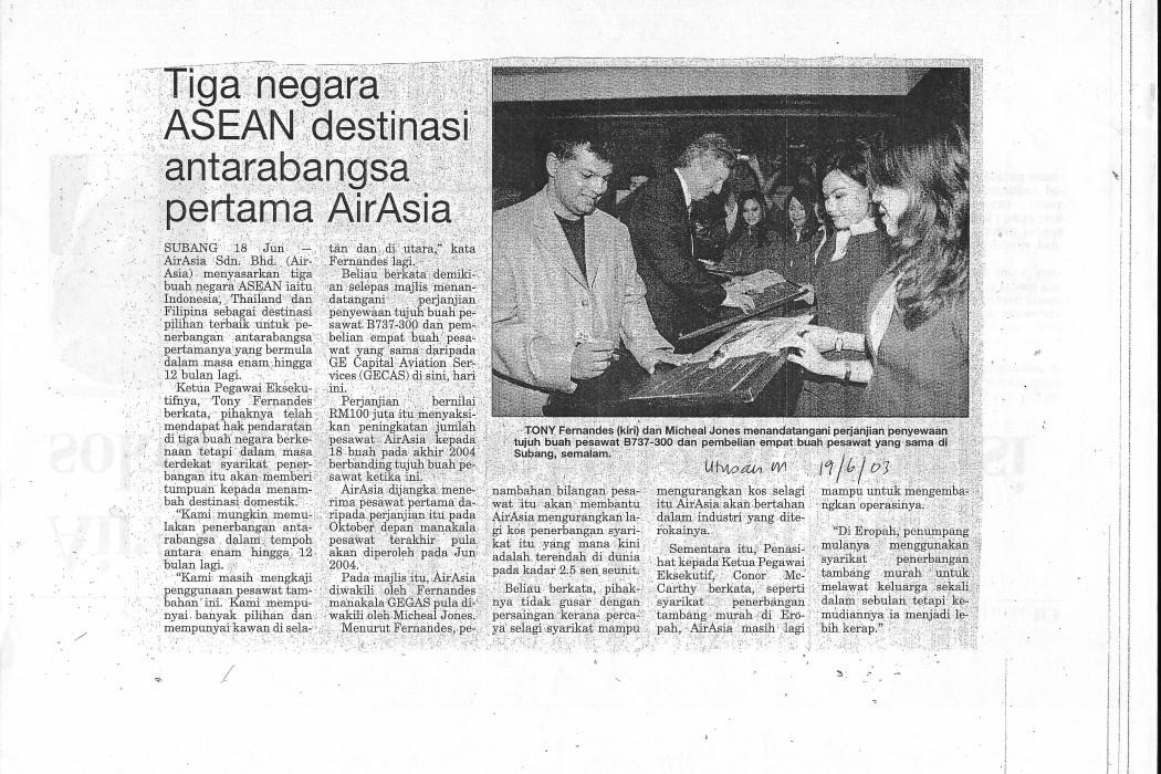 Tiga negara ASEAN destinasi antarabangsa pertama airasia