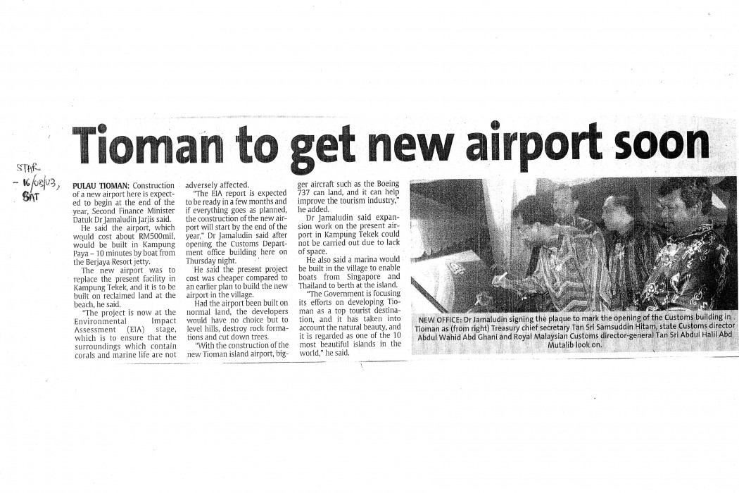 Tioman to get new airport soon
