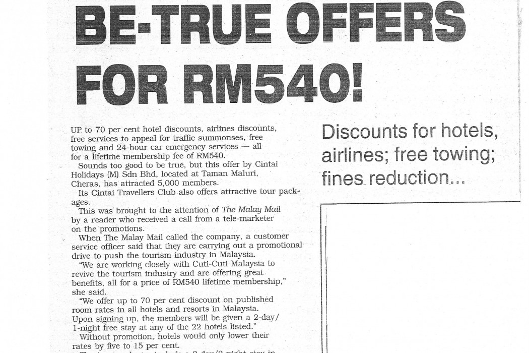 Too-Good-To-Be-True Offers For RM540