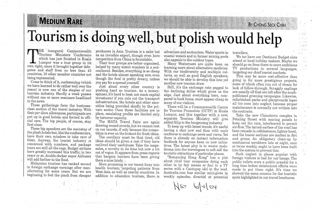 Tourism is doing well, but polish would help