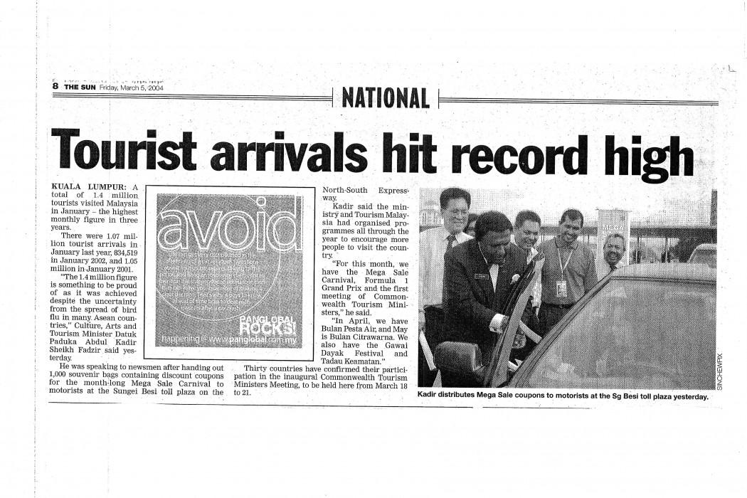 Tourist arrivals hit record high