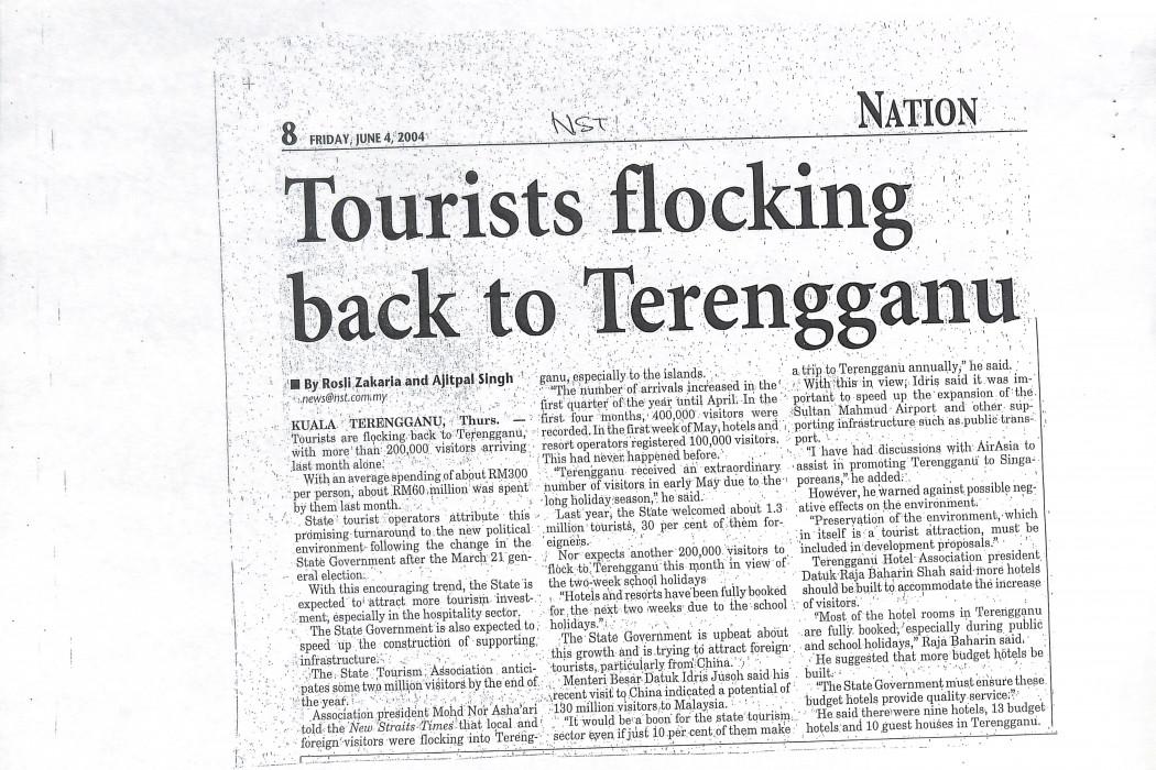 Tourists flocking back to Terengganu
