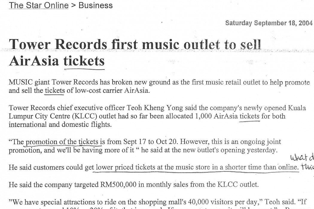 Tower Records first music outlet to sell airasia tickets
