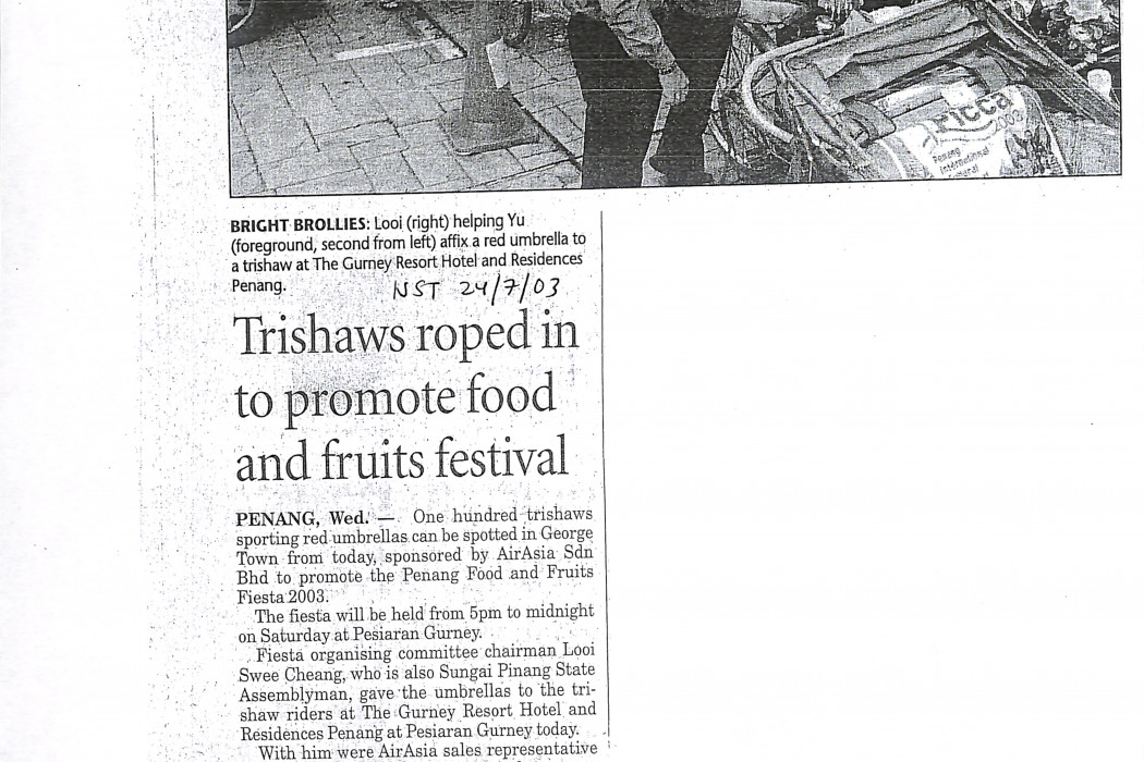 Trishaws roped in to promote food and fruits festival