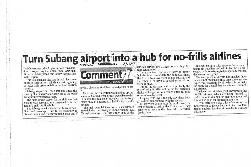 Turn Subang airport into a hub for no-frills airlines