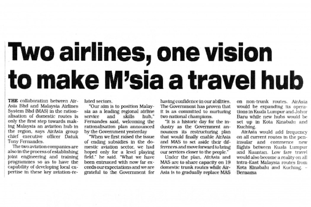 Two airlines, one vision to make M'sia a travel hub