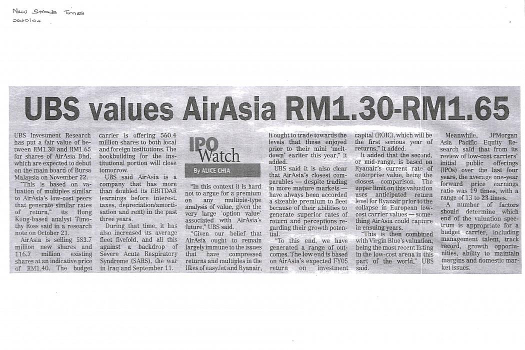 UBS values airasia RM1.30-RM1.65