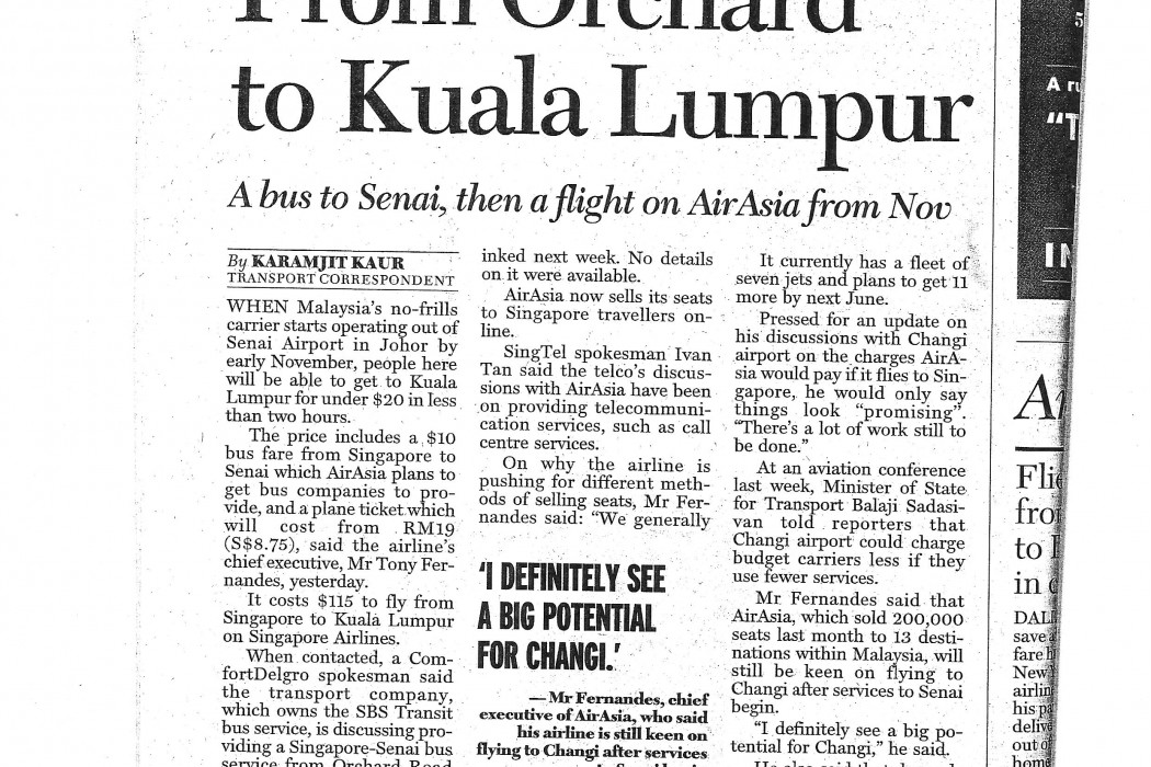 Under $20 from Orchard to Kuala Lumpur