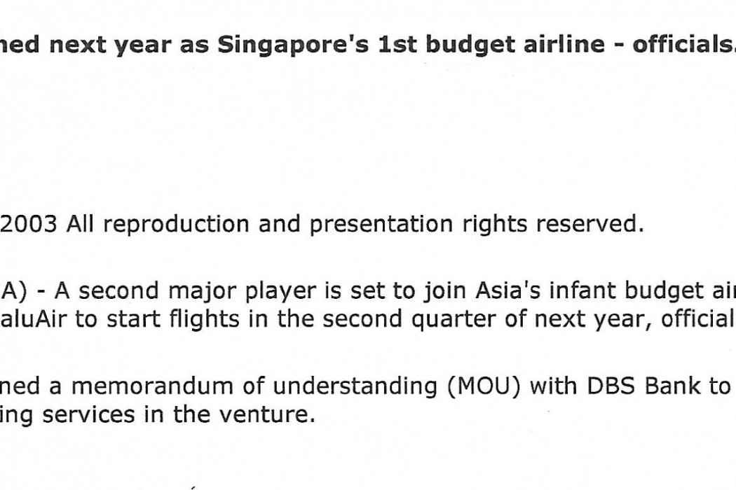 ValuAir to be launched next year as Singapore's 1st budget airline - officials (1)