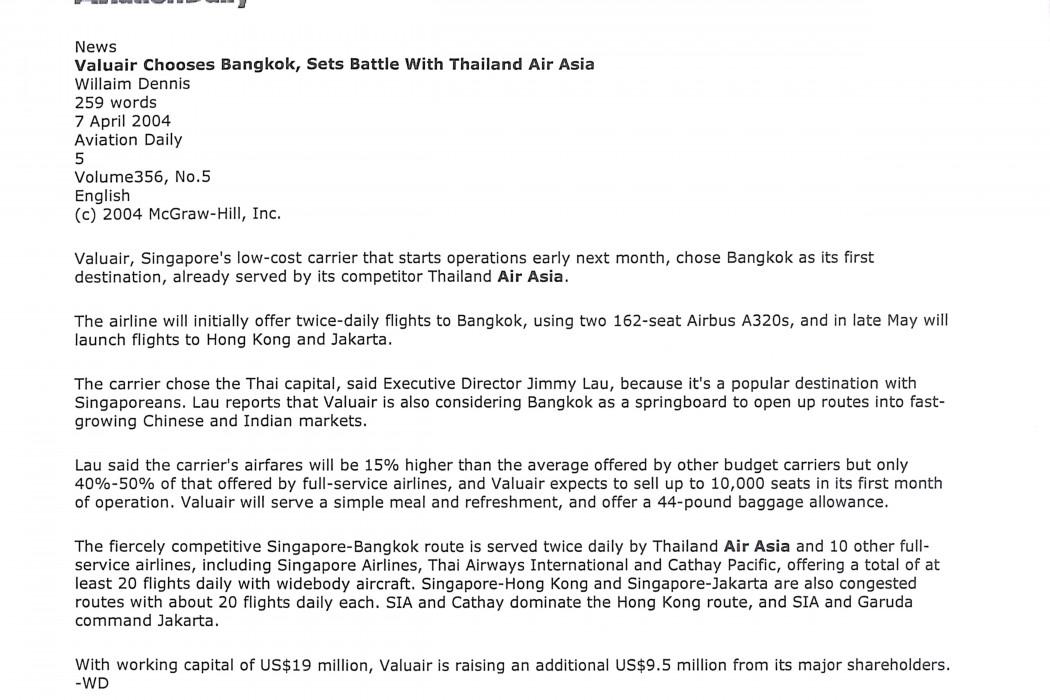 Valuair Chooses Bangkok, Sets Battle with Thailand Air Asia