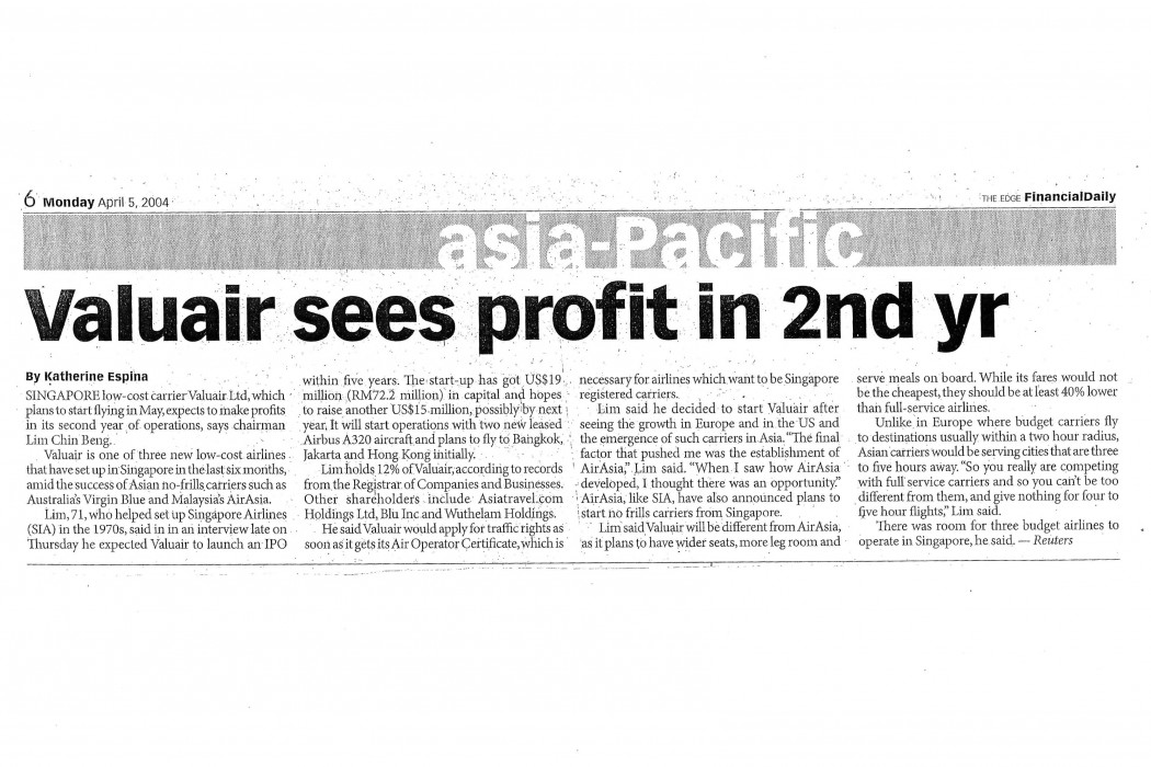 Valuair sees profit in 2nd yr