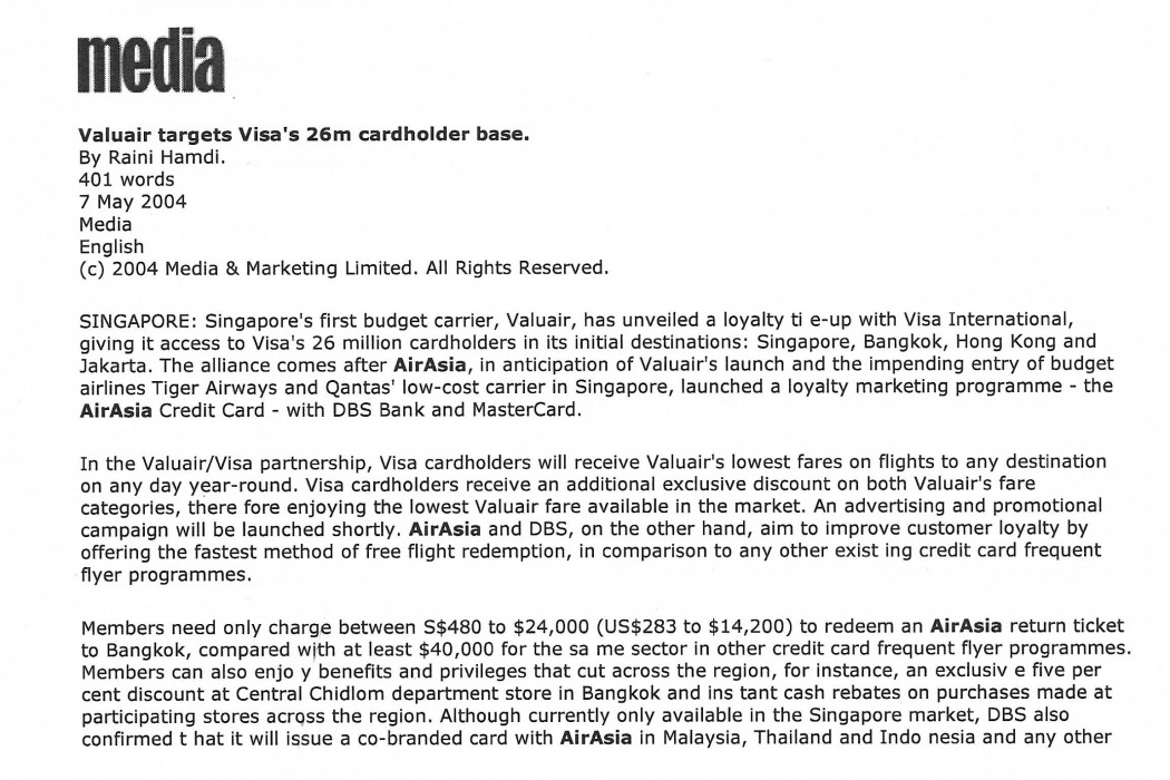 Valuair targets Visa's 26m cardholder base - 01