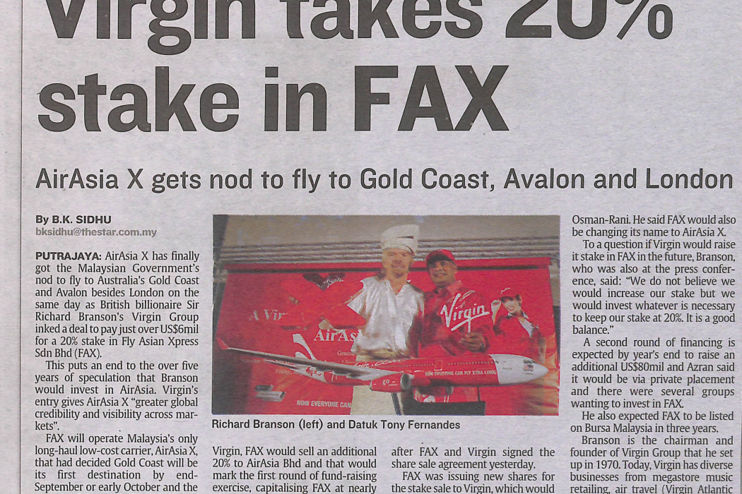 Virgin takes 20% stake in FAX - 01