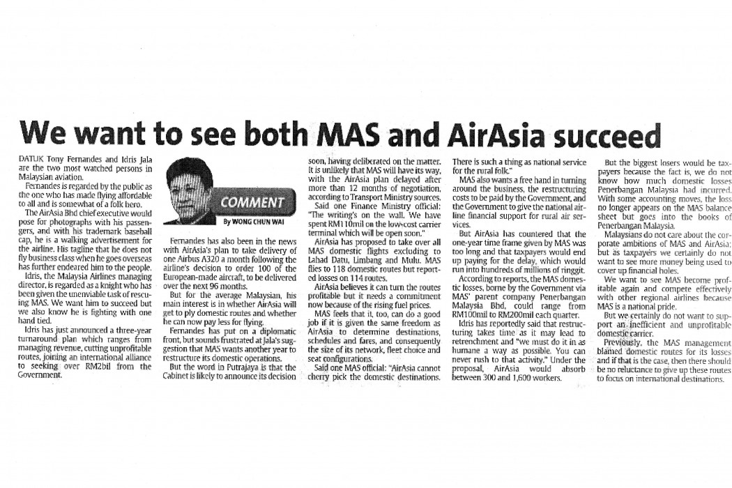 We want to see both MAS and airasia succeed