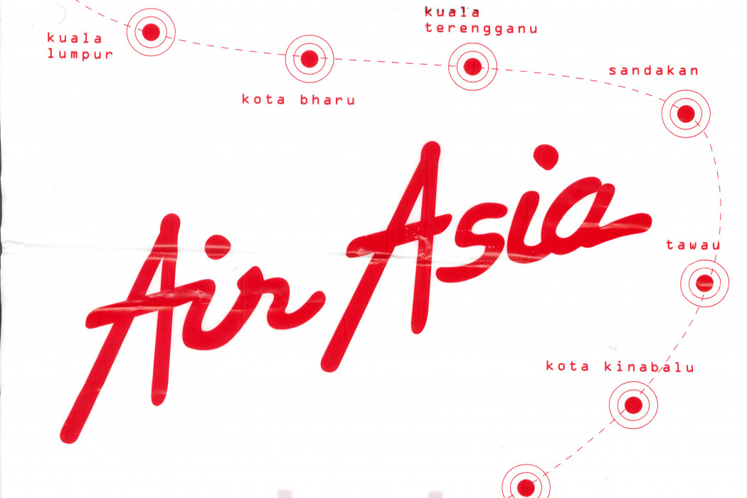 White Plastic Bag With airasia Logo And Destination Spots (front)