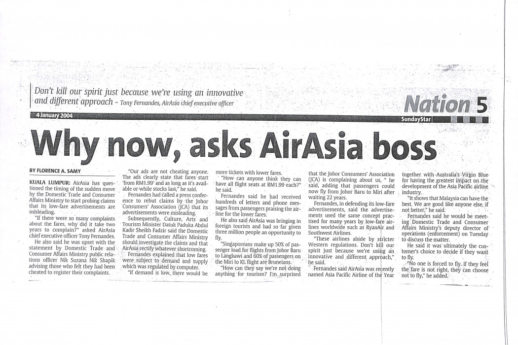 Why now, asks airasia boss