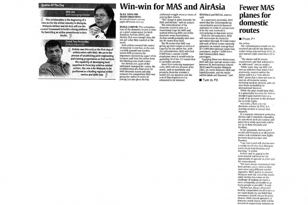 Win-win for MAS and airasia